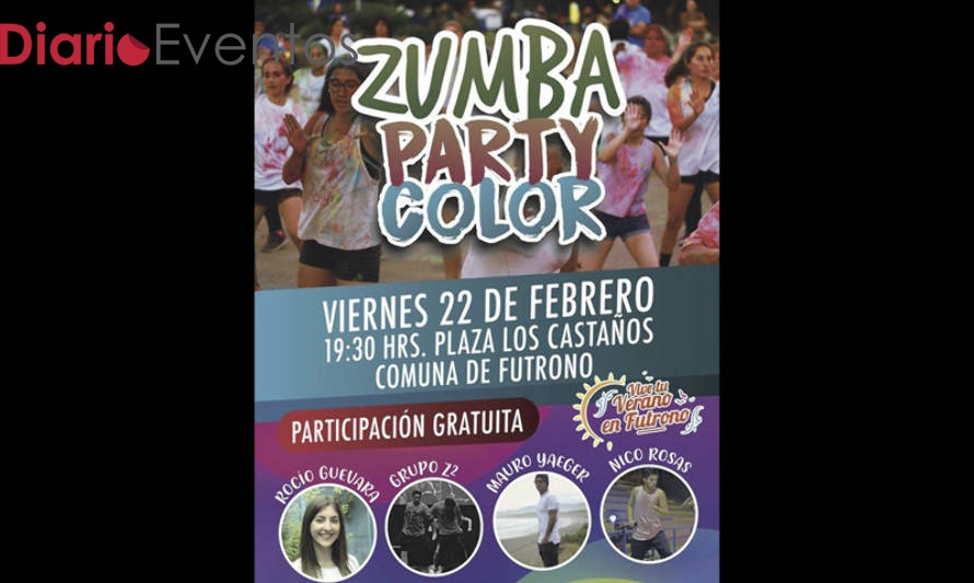 Invitan a entretenida Zumba Party Color en Futrono